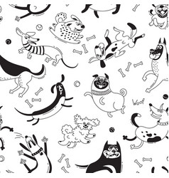 Playing dogs seamless pattern funny lap-dog vector