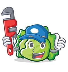 Plumber lettuce character mascot style vector