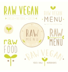 Raw vegan badges vector image
