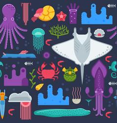 sea animals seamless pattern vector image vector image