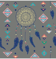 Seamless pattern of color american indians vector