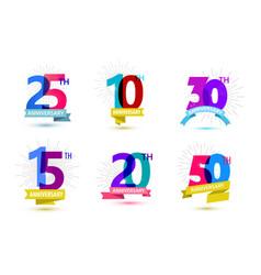Set of anniversary numbers design 25 10 vector