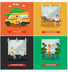 Set of doctors posters in flat style vector