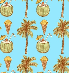 Sketch vacation symbols in vintage style vector image
