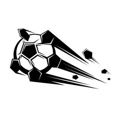 Speeding soccer ball loosing its pentagons vector image