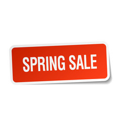 Spring sale red square sticker isolated on white vector