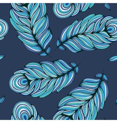 Stylized feather on deep blue background vector