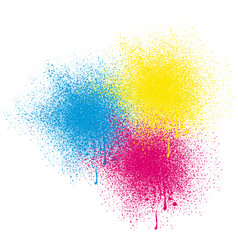 Three colors spray on white background vector