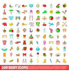 100 baby icons set cartoon style vector