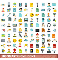 100 smartphone icons set flat style vector image
