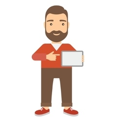 Man holding a tablet vector