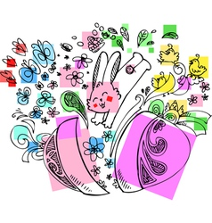 Decorated easter egg with jumping bunny vector