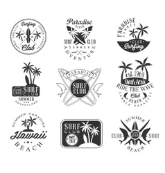 Summer vacation in hawaii black and white sign vector