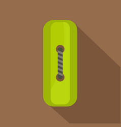 Green rectangle sewing button icon flat style vector