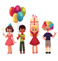Set of kids at birthday party holding gift and vector