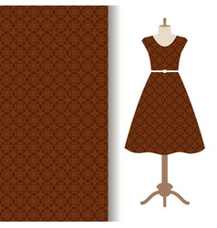 Dress fabric with brown arabic pattern vector