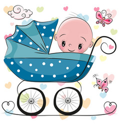 cute cartoon baby boy is sitting on a carriage vector image