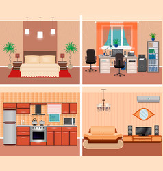 House interior living room domestic workplace vector