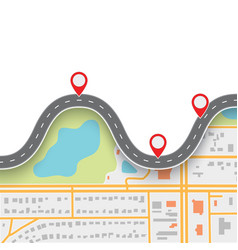 Road trip route winding road on gps navigation vector