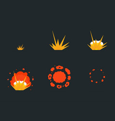 explode effect animation with smoke cartoon bang vector image