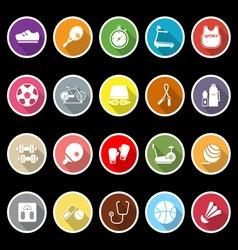 Fitness icons with long shadow vector