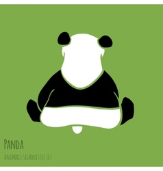 Set of panda silhouettes vector