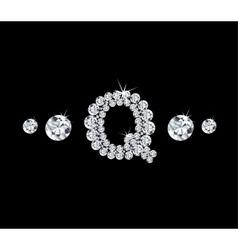 Diamond alphabetic letter q vector