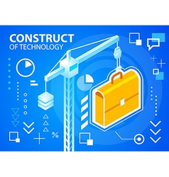 Bright construct crine and work suitcase on vector
