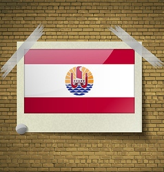 Flags french polynesia at frame on a brick vector