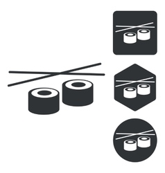 Sushi icon set monochrome vector