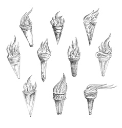 Flaming torches in retro sketch style vector