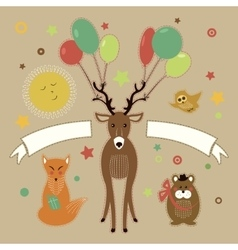 Greeting card with forest friends vector