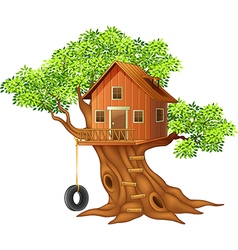 Beautiful tree house cartoon vector image