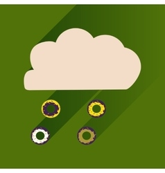 Flat icon with long shadow cloud and donuts vector