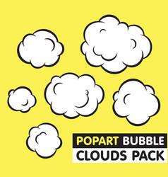 Pop art bubble clouds pack vector