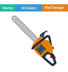 Flat design icon of chain saw vector