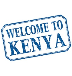 Kenya - welcome blue vintage isolated label vector