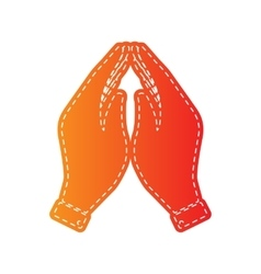 Hand icon  prayer symbol orange vector