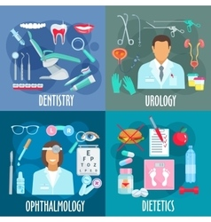 Dentistry urology ophthalmology dietetics icons vector