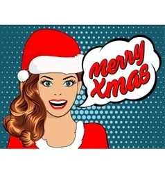 beautiful girl in santa claus clothes vector image vector image