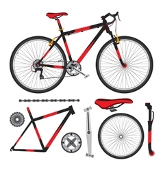 Bicycle bike parts accessories details vector image vector image