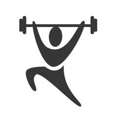 Black silhouette pictogram man weightlifting icon vector