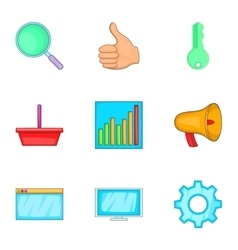 Business start up icons set cartoon style vector image