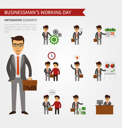 businessman working day infographic elements vector image vector image