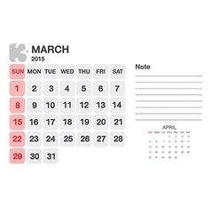 Calendar march 2015 vector