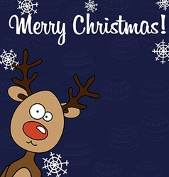 Christmas card rudolph with snowflakes vector
