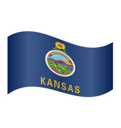 Flag of kansas waving on white background vector
