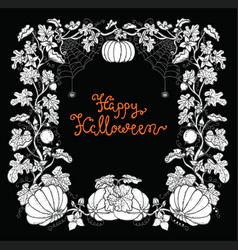 halloween frame with pumpkins and lettering vector image vector image