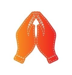 Hand icon prayer symbol orange vector