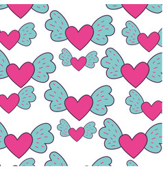 Heart love with wings pattern vector